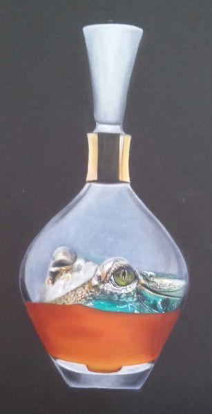 Flasche, Grau, Krokodil, Grün, Augen, Orange