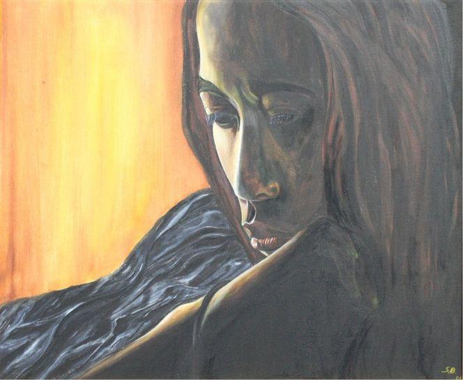 Nachdenklich, Afrikanerin, Malerei