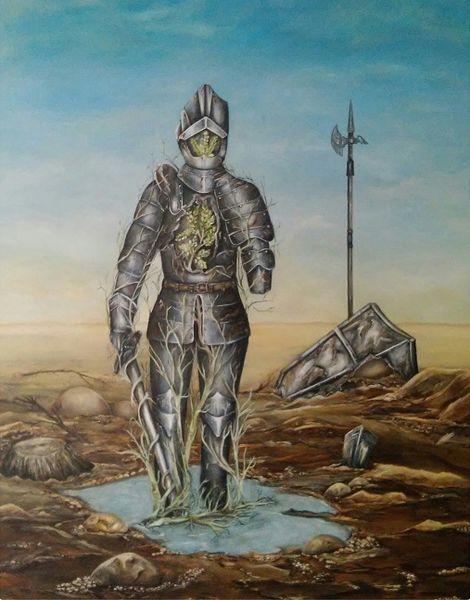 Ritter, Schwert, Schild, Pfütze, Lange barde, Malerei