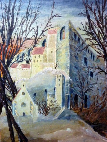 Burg, Schloss, Ruine, Ritter, Mittelalter, Malerei