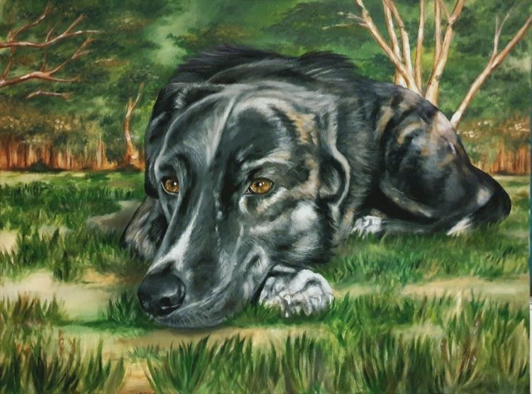 Tierportrait, Gemälde, Hundeportrait, Mischling, Acrylmalerei, Landschaft