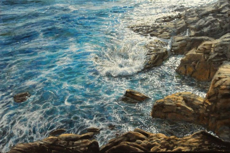 Blau, Küste, Fotorealismus, Meer, Mittelmeer, Welle
