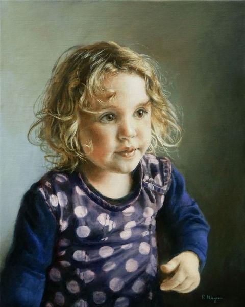 Gesicht, Mädchen, Ölmalerei, Jung, Portrait, Haare