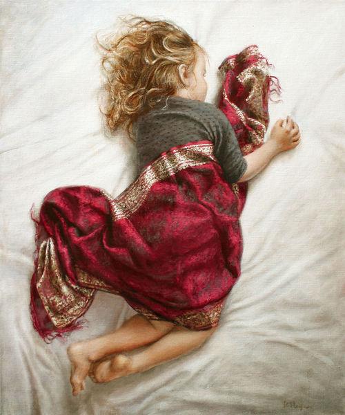 Haare, Rot, Mädchen, Kind, Realismus, Hände