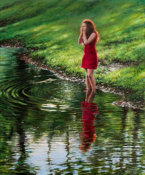 Realismus, Frau, Wasser, Rot, Reflexion, Kleid