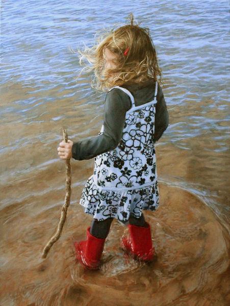 Spielen mädchen, Haare, Fluss, Wasser, Welle, Blau