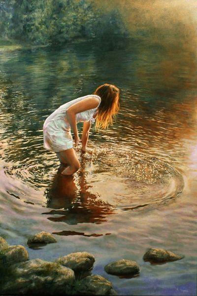 Kleid, Licht, Reflexion, Wasser, Fotorealismus, Welle