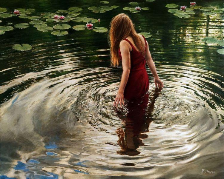 Wasserspiegelung, Reflexion, See, Wasserlilien, Hyperrealismus, Spiegelung