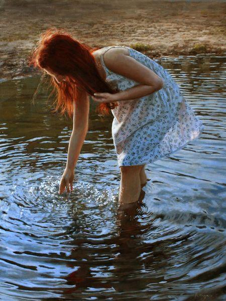 Strand, Junge frau, Reflexion, Hände, Welle, Wasser
