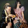 Oiloncanvas, Schach, Ölmalerei, Die schachspielerinnen