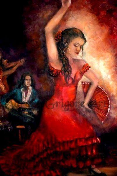 Flamenco, Spanien, Tanz, Musik, Rot, Malerei