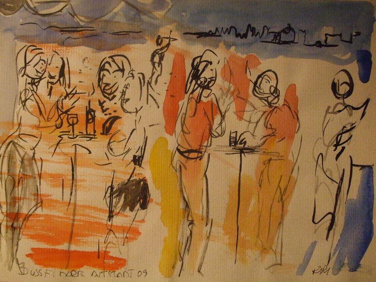 Cafeszenen in düsseldorf, Illustrationen, Düsseldorf