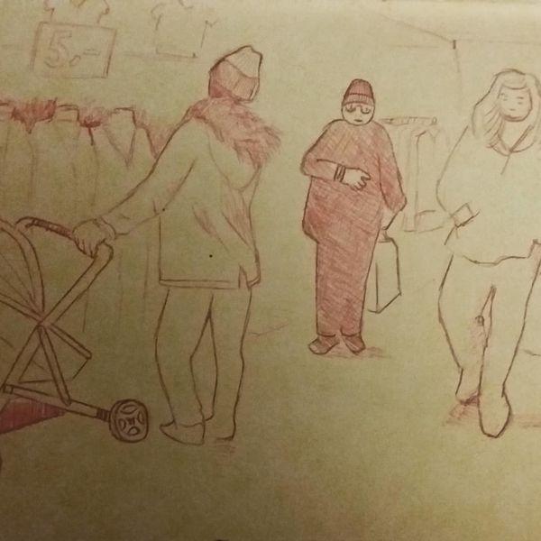 Menschen, Mülheim, Köln, Zeichnungen,