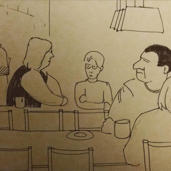 Ikea, Cafe, Menschen, Zeichnungen