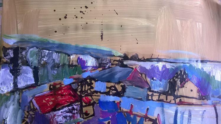 Acrylmalerei, Pappe, Landschaft, Mischtechnik,