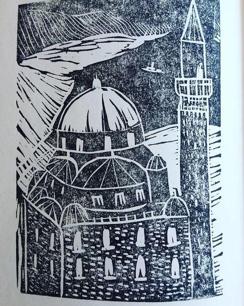 Druckgrafik, Linoldruck, Moschee