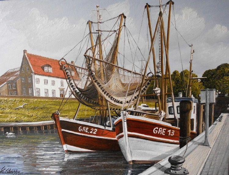 Greetsiel, Möwe, Hafen, Ostfriesland, Malerei