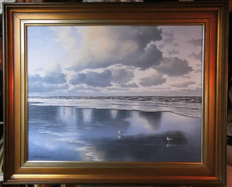 Wolken, Meer, Nordsee, Möwe, Weite, Malerei