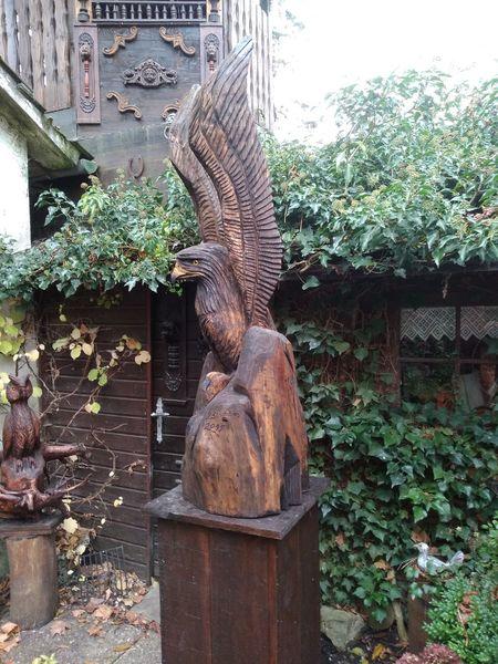 Vogel, Holz, Skulptur, Plastik, Adler