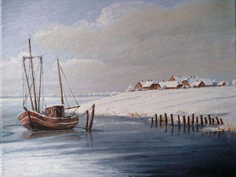 Kutter, Meer, Winter, Schnee, Ostfriesland, Malerei