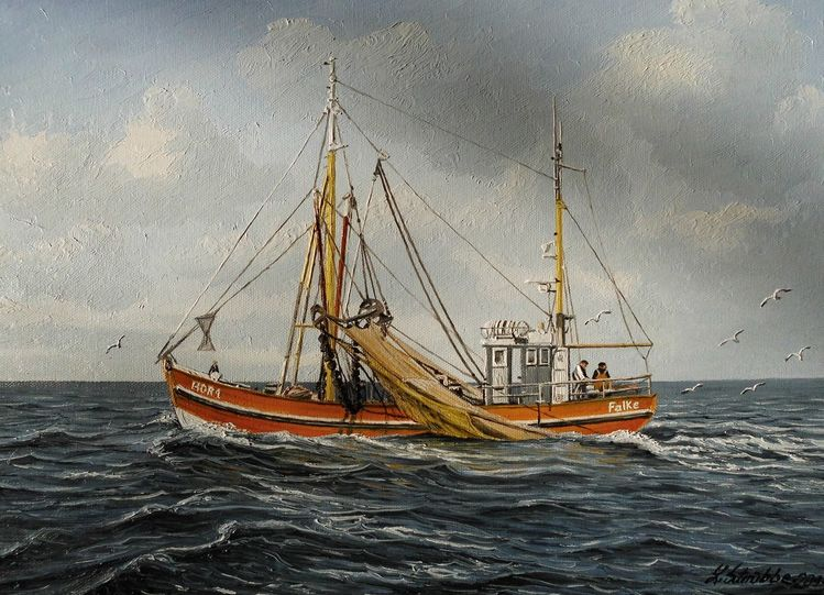 Möwe, Nordsee, Welle, Kutter, Malerei