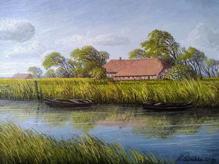Boot, Ostfriesland, Hof, Wasser, Malerei, Kanal
