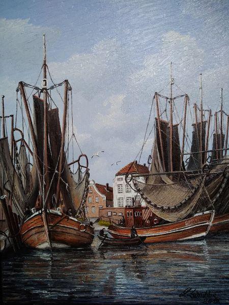 Kutter wasser, Boot, Hafen, Möwe, Ostfriesland, Malerei