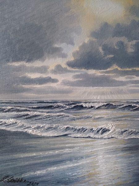 Strand, Sonnenlicht, Nordsee, Ostfriesland, Meer, Malerei