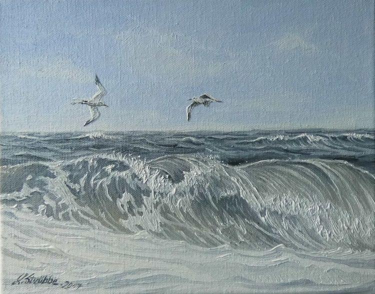 Blau, Wasser, Welle, Möwe, Nordsee, Malerei