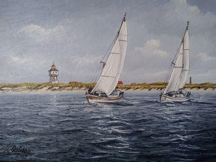 Schiff, Nordseeinsel, Boot, Turm, Möwe, Wasser
