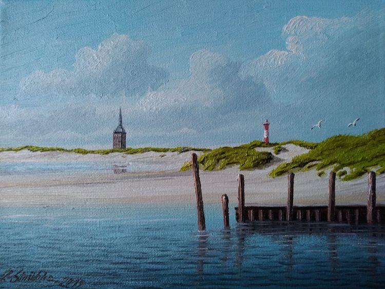 Strand, Sand, Blau, Möwe, Malerei,