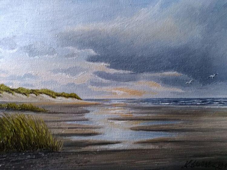 Watt, Sonnenlicht, Wasser, Strand, Norden, Malerei