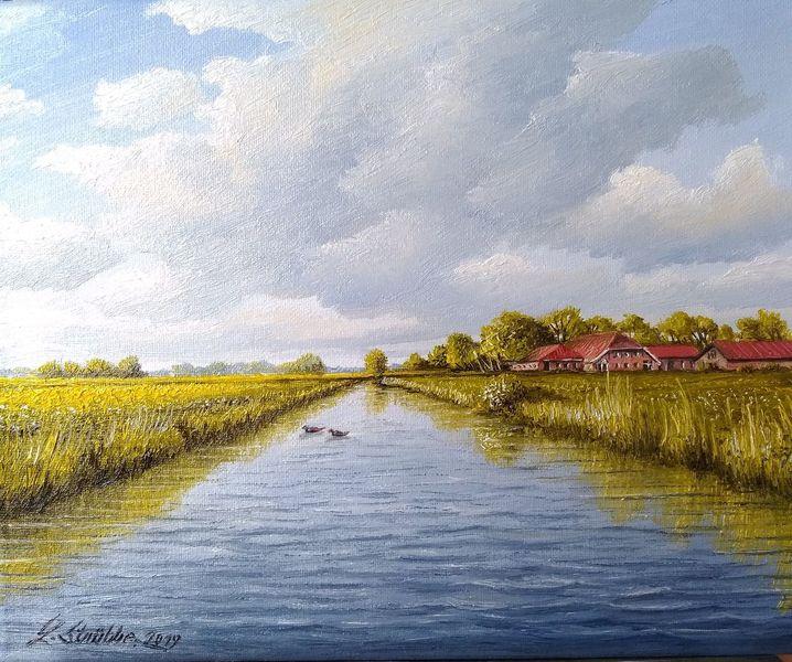 Wolken, Weite, Wasser, Hof, Malerei