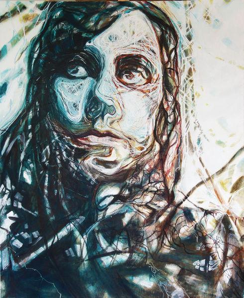 Linie, Frau, Portrait, Strich, Malerei