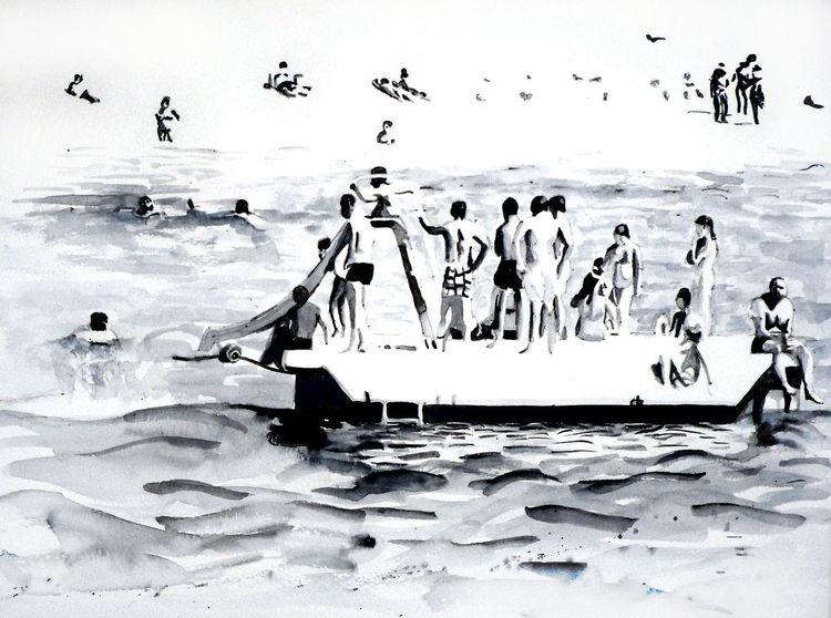 Meer, Kinder, Urlaub, Schwimmen, Wasser, Monochrom
