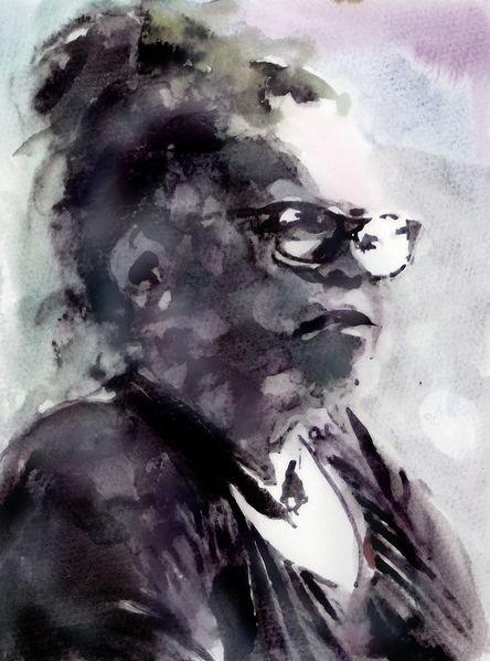 Aquarellmalerei, Ausdruck, Brille, Frau, Gesicht, Blick
