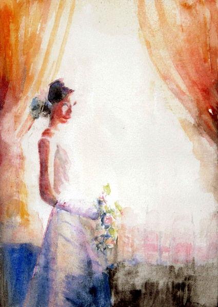 Aquarellmalerei, Brautstrauß, Braut, Frau, Fenster, Licht