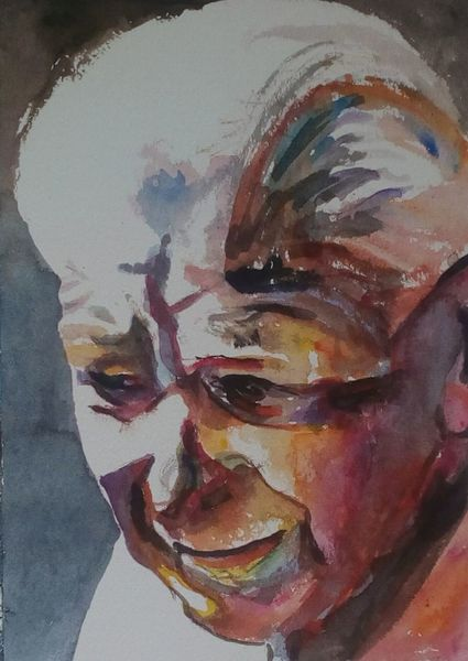 Blick, Aquarellmalerei, Ausdruck, Mann, Farben, Gesicht