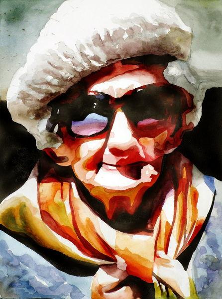 Alter, Blick, Ausdruck, Oma, Farben, Portrait
