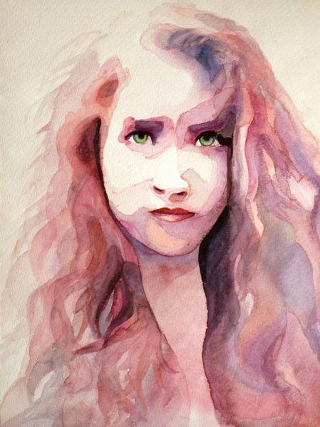 Augen, Frau, Farben, Mädchen, Blick, Aquarellmalerei