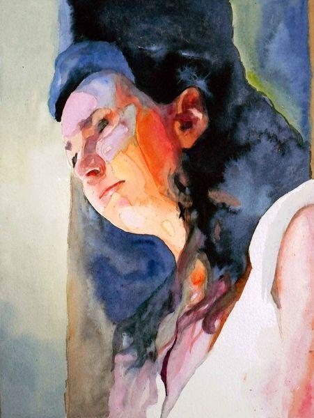 Farben, Portrait, Licht, Frau, Schatten, Aquarellmalerei