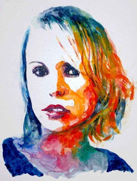 Menschen, Haare, Aquarellmalerei, Blick, Portrait, Ausdruck