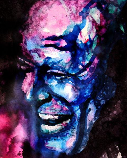Gesicht, Portrait, Mann, Grimasse, Lachen, Aquarell
