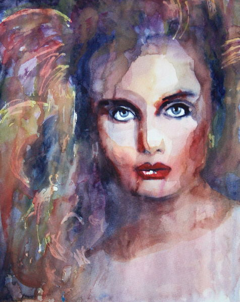 Portrait, Frau, Blick, Aquarellmalerei, Gesicht, Aquarell