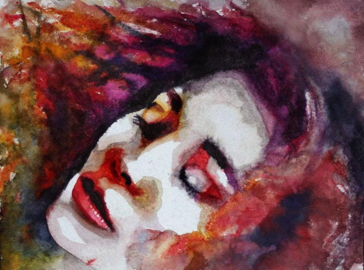 Ausdruck, Menschen, Farben, Frau, Gesicht, Aquarell