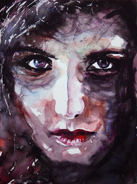 Blick, Gesicht, Portrait, Frau, Ausdruck, Aquarell