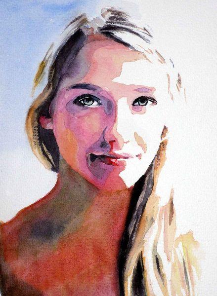 Ausdruck, Aquarellmalerei, Farben, Blick, Portrait, Haare