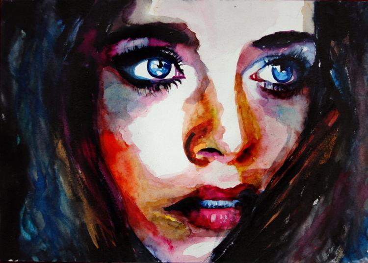 Frau, Portrait, Gesicht, Blick, Ausdruck, Aquarell