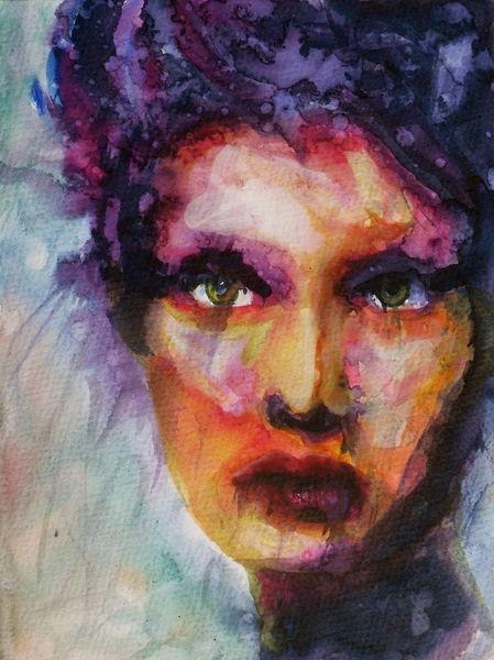 Frau, Farben, Menschen, Blick, Portrait, Malerei