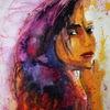 Aquarellmalerei, Farben, Gesicht, Portrait